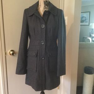 Anthropologie Tulle Charcoal Gray Wool Coat Size M